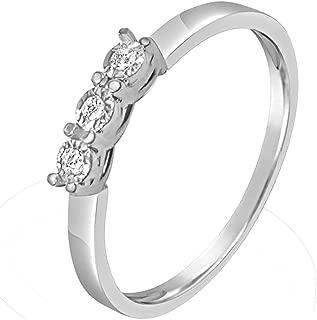 ∞ Anillo Mujer Compromiso Oro y Diamantes - Oro Blanco 9 Kt 375 ∞ Diamantes 0.03 Kt