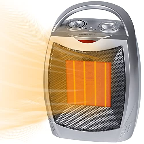 Brightown Space Heater, 1500W/750W Portable Electric Heater with Thermostat, PTC Fast Heating Ceramic Heater with Fan Safety Small Quiet Room Heater for Indoor Office Camping Home Use