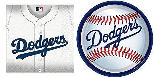 Los Angeles Dodgers - Napkins, Plates, Happy Birthday Baseball Party Bundle for 36 People - Includes 1 Maze Game Activity Card by ClassicVariety