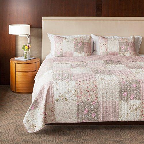 SLPR Secret Garden 3-Piece Patchwork Cotton Bedding Quilt Set - Queen with 2 Shams | Floral Country Quilted Bedspread
