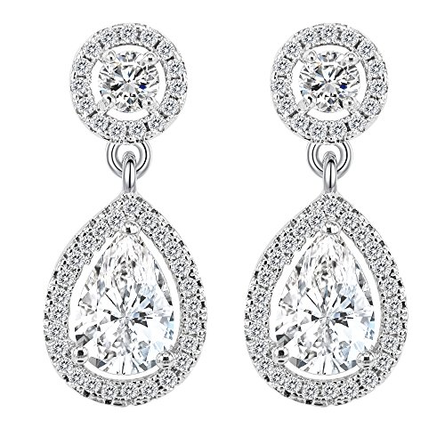 BiBeary Women elegant teardrop and round Zirconia refinement pieces Earrings