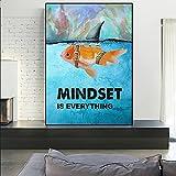 Mindset Is Everything Shark Fish Póster Motivacional Imprime Pinturas nórdicas en la Pared Imagen artística para la decoración del hogar de la habitación 70x90cm / 27.5'x35.4 Sin Marco