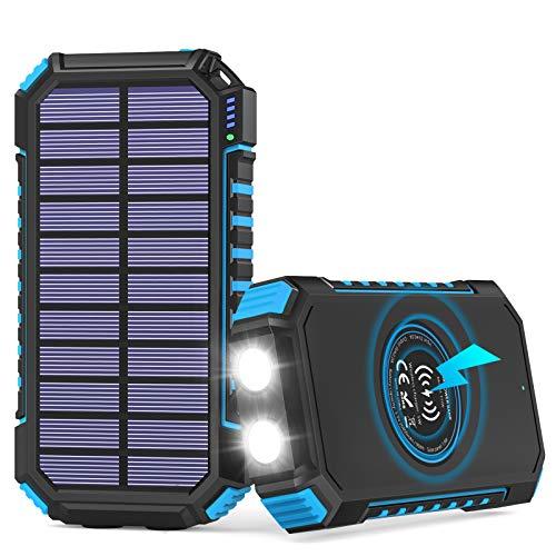 Solar Powerbank 26800mAh, Hiluckey Wireless Charger Solar Ladegerät mit 4 Ausgängen und LED Licht Externer Akku für iPhone, Samsung, Huawei, iPad und Camping