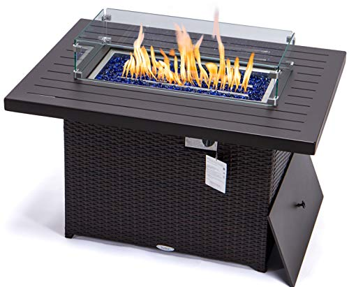 Propane fire Pit Table 44 Inch Rectangular Coffee Table fire pits 55,000 BTU Auto-Ignition fire Pit Propane for Outside Patio Blue Rhino fire Pit 3mm Aluminum Tabletop (Espresso Withwind Glass) -  YeSea