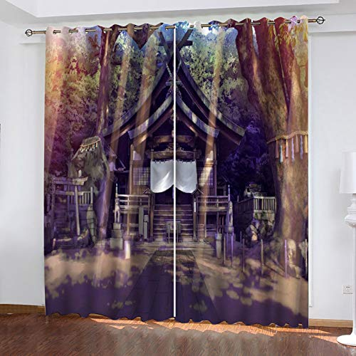 MMHJS 3D House Printing Curtains, Polyester Waterproof Blackout Curtains, Garden Balcony, Bedroom And Living Room Vertical Curtains (2 Pieces)