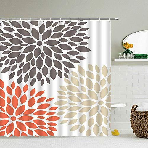 XCBN Blumen Grüne Pflanzen Duschvorhänge wasserdichte Badezimmervorhänge 3D-Druck Stoff Dekoration Home Bad Display A7 150x200cm