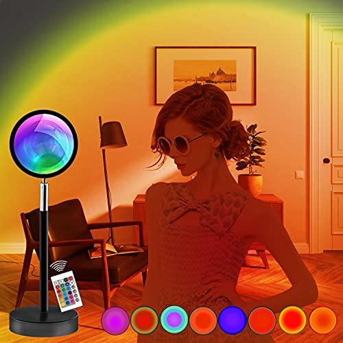 Hertekdo Sunset Projection Lamp, 10W LED Sunset Light Projector, 180 Degree Rotation Rainbow...