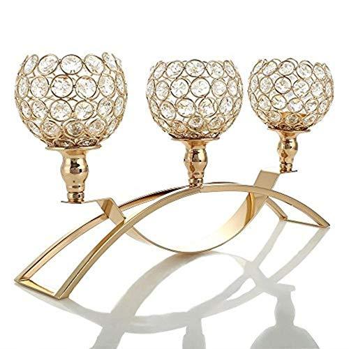 ShAwng Kristallkandelaber Kandelaber Tischdekoration Teelicht Kerzenhalter Metall Kerzenständer Home Dekoration-Gold Schüssel, China