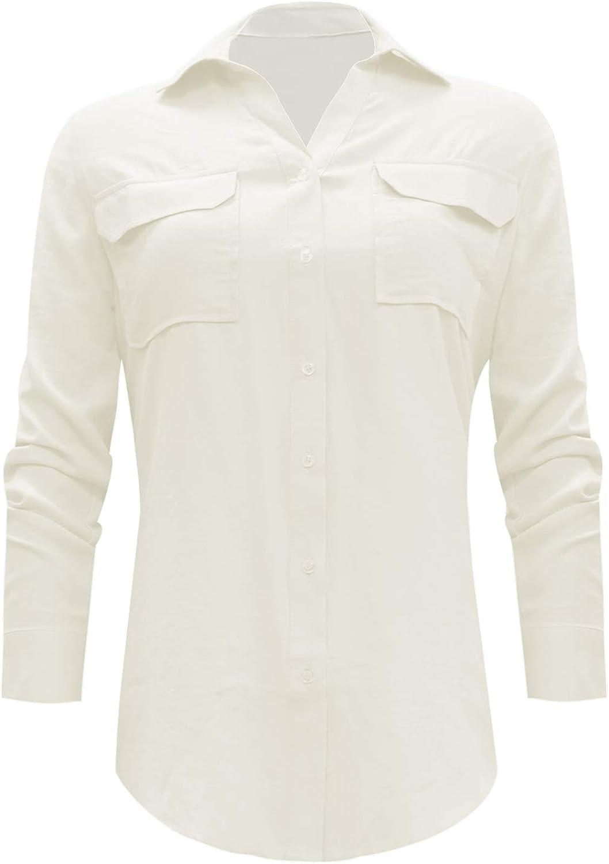 HRYfashion Women's Long Sleeve Chest Pockets Vertical Stripes Button Down Blouse Shirt Top