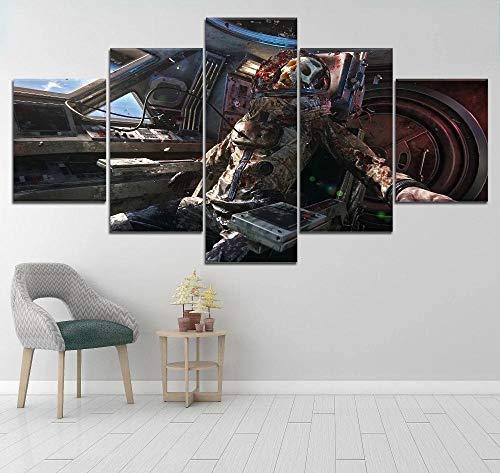WANGZUO ImpresióN HD Pintura 5 Piezas Póster Death Skull Cuadro En Lienzo, Cuadros Modernos SalóN Decoracion De Pared Canvas Prints, Wall Art Modular Poster Mural Decorativo-150x80CM