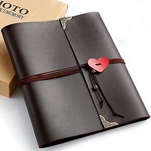 CASAON Polaroid Photo Album, 70 Pages 3 Ring Binder Vintage DIY Leather Scrapbook for Anniversary Birthday Wedding Travel, Holds 2x3, 4x6, 5x7 Photos