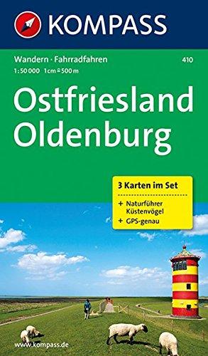 Ostfriesland - Oldenburg: Wanderkarten-Set mit Radrouten und Naturführer. GPS-genau. 1:50000: 3-delige Wandelkaart 1:50 000 (KOMPASS-Wanderkarten, Band 410)