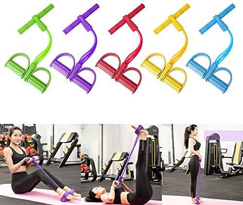 KINJOHI 2020 Neu 4 Tubes Multifunktions-Leg-Exerciser Sit-up Bodybuilding Expander Pedal Resistance Band Elastische Zugseil Trainingsger/äte