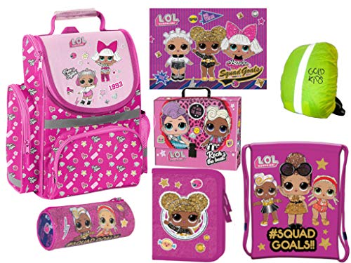 L.O.L Surpise LOL Schulranzen Set ergonomischer Ranzen Federmappe Turnbeutel Schlamperrolle Zeichenbox Tischunterlage Regenhülle Mädchen rosa 7-teilig LOL Puppen Glam Lizenz