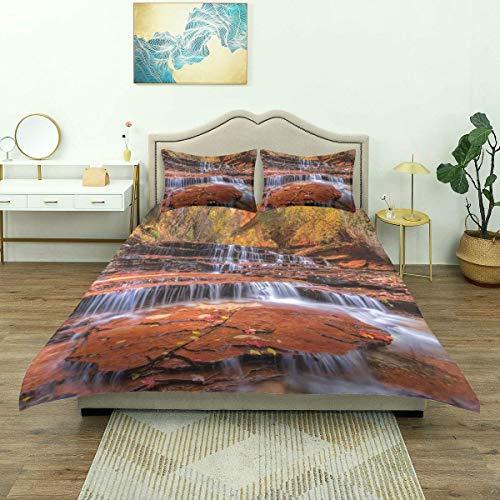 Rorun Bettbezug, Nature Waterfall Herbstdruck, Luxus-Bettwäscheset Bequeme leichte Mikrofaser