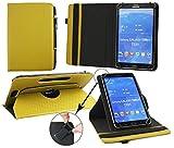 Emartbuy® Odys Connect 8+ 7.85 Zoll Tablet Universal (7-8 Zoll) GepolsterteDesign Dark Senf 360GradrotierendeStandFolioGeldbörseTascheHülle + Schwarz Eingabestift