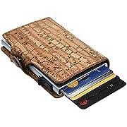 Dlife Credit Card Holder RFID Blocking Wallet Slim Wallet PU Leather Vintage Aluminum Business Card Holder Automatic Side Slide Trigger Card Case Wallet Security Travel Wallet (Color-3)