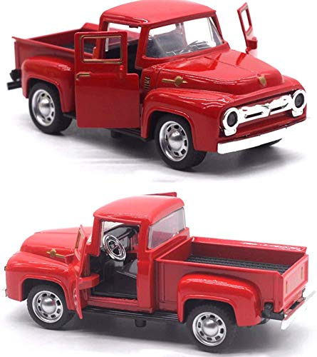 Bprtcra Christmas Red Truck Vintage Metal Car Ornaments, Handmade Holiday Truck Table Top Ornament Christmas Table Decoration, Table Top Vehicle Gifts Toy for Kids, 14 cm