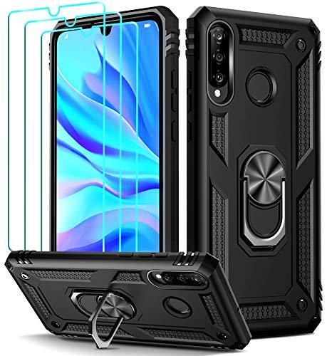 ivoler Funda para Huawei P30 Lite/New Edition/Honor 20s + [Cristal Vidrio Templado Protector de Pantalla *3], Anti-Choque Carcasa con 360 Grados Anillo iman Soporte, Hard Silicona TPU Caso - Negro