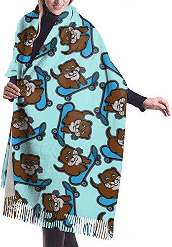 Python Mix Funny Otter Playing Blue Skateboard Damenmode Kaschmirschal Wraps Winter Großer Schal
