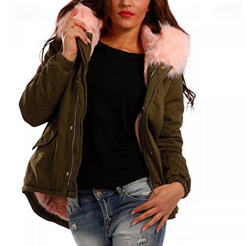 Young-Fashion Damen Jacke Winterjacke XXL Fellimitat Kapuze, Farbe:Khaki/Rosa Fell;Größe:38