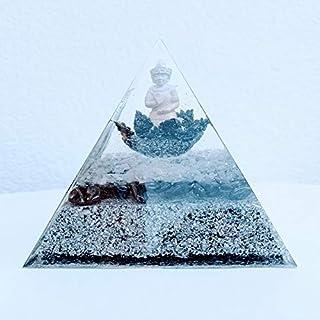 Lámpara piramide orgonita realizada con hematite y cuarzo cristal Contiene virutas de aluminio, flor de loto y buda