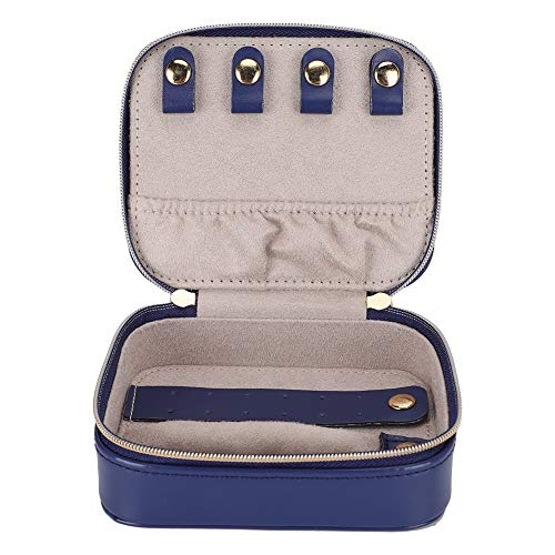 GSX Jewellery Box Jewelry Storage Case PU Leather Portable Earrings Ring Jewelry Storage Rack Small Jewelry Storage Box Case Blue