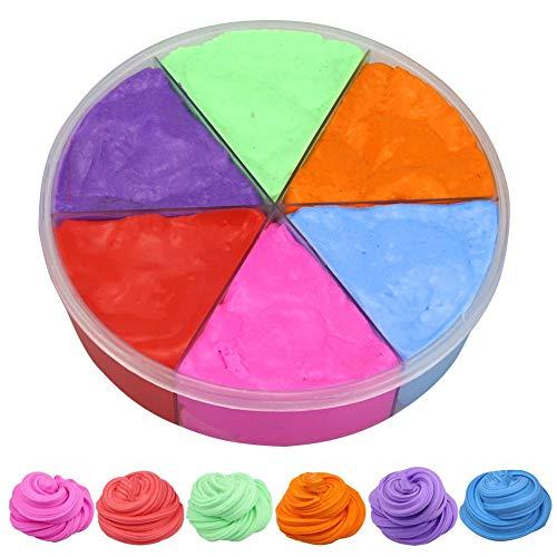 Slime Esponjoso de 6 Colores, Kit de Limo de Mantequilla de Limo Esponjoso de 6 Colores, Lodo de algodón, Limo súper Suave y no pegajoso para niños, Dije de arcoíris Incluido para Hacer Bricolaje