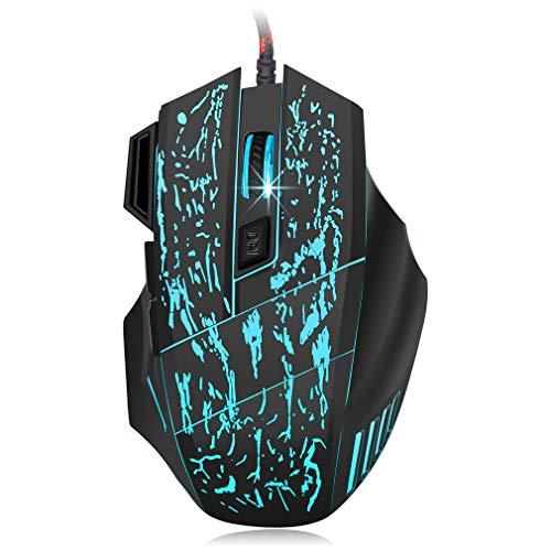 Maus mit Kabel für Gaming-Computer, Maus mit Kabel mit 7 Farben Blacklight Beleuchtete Konfiguration von 5 dpi bis 3200 dpi - für Laptop/PC/Windows/Mac