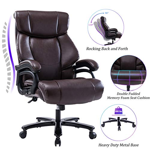 REFICCER High Back Big & Tall 400lb Leather Office Chair Executive Desk Computer Task Swivel Chair - Heavy Duty Metal Base, Adjustable Tilt Angle, Thick Padding and Ergonomic Design for Lumbar Support