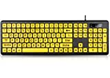 UBOTIE Large Print Computer Keyboard with Yellow Keys and Black Letters, Wired USB Keyboards for Visually Impaired Low Vision Individuals
