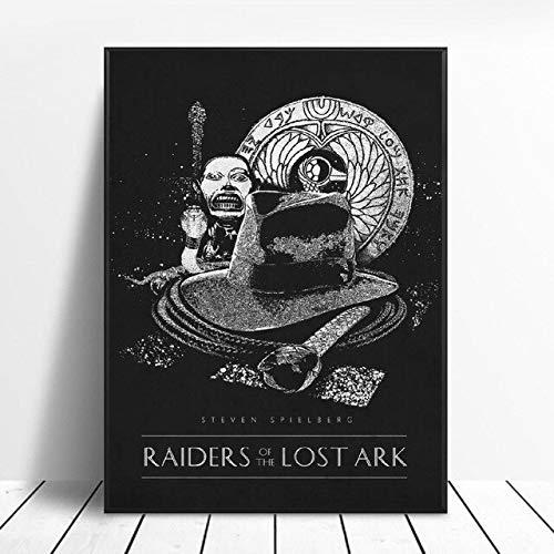 shuimanjinshan Raiders of The Lost Ark Klassische Filmplakate Schwarz-Weiß-Seide Wandkunst Dekoration Gemälde Ohne Rahmen 50X70Cm No Frame W-2853