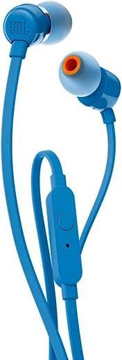 JBL Tune 110 – In-Ear Kopfhörer mit verwicklungsfreiem Flachbandkabel und Mikrofon in Blau – Für grenzenlosen Musikgenuss mit der Pure Bass Sound…