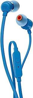 JBL T110 Cuffie In Ear con Microfono, Cavo Piatto Antigroviglio, Comando a un pulsante, JBL Pure Bass Sound, Blu