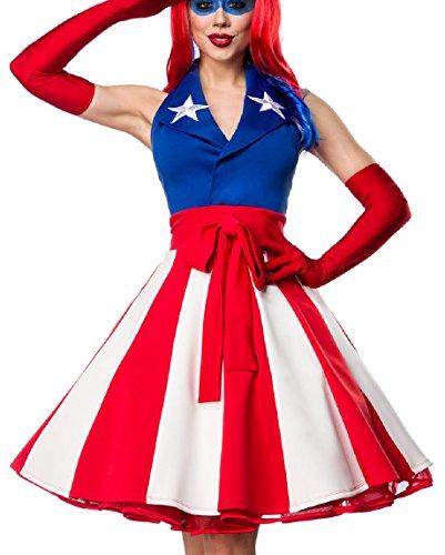 Damen Miss America Outfit Kostüm Verkleidung mit Kleid im USA Flaggen Look und Handschuhe in bunt XL