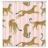 Leopard Race Stoff Duschvorhang, Rosa Vintage Tropisch Abstrakt Tier Duschvorhang für Badezimmer, Trendy Duschvorhang mit Haken 69 x 70 Zoll
