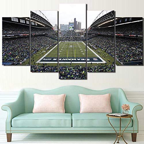 ASWLH Drucken Sie Dekorative Malerei Hd Gedruckt 5 Stück Leinwand Kunst Seattle Seahawks Fußballspiel Leinwand Wandkunst Malerei Wandbilder