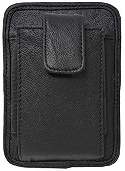 Garrison Grip Cowhide Leather OWB CCW Cell Phone Belt Pack Fits S&W Bodyguard Ruger LCP LCPII and Smaller Guns  Black
