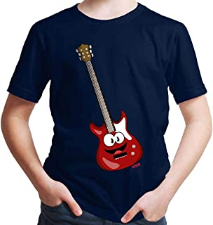 Hariz - Camiseta para niño con diseño de guitarra eléctrica Azul marino