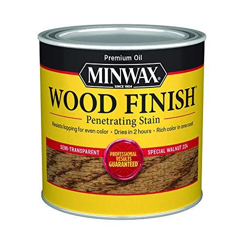 Minwax 222404444 Wood Finish Penetrating Interior Wood Stain, 1/2 pint, Special Walnut