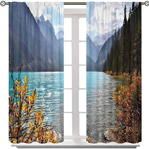 Aishare Store Window Curtain, Lake Louise Banff National Park Canada Mountains Autumn Plants, 63 Inches Long Rod Pocket Curtains for Bedroom(2 Panels)