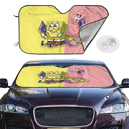 Drew Tours Spongebob Schwammkopf Auto Windschutzscheibe Sonnenschirme Faltbare Sonnenschirme Visierschild Abdeckung mit Saugnäpfen Auto Windschutzscheibe UV-Strahlenschutz SUN-512