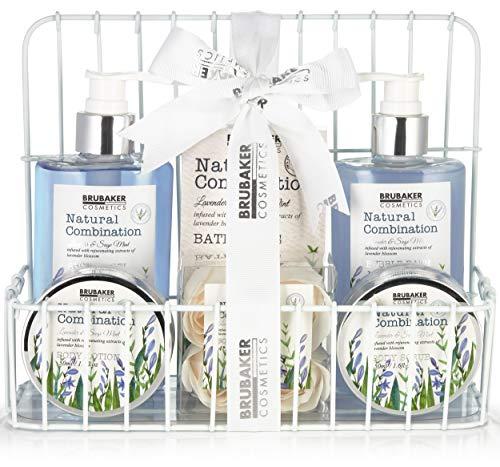 BRUBAKER Cosmetics Beauty Care Set - con Extractos de Lavanda y Salvia - Set de Regalo en la Estantería del Baño Blanco
