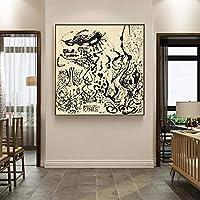 キャンバスプリントジャクソンポロック《ナンバー5エレガントレディ》キャンバスモダンアート油絵有名アートポスターピクチャーウォールホームデコレーション70x70cmフレームレス