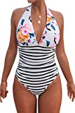 CUPSHE Women's One Piece Swimsuit Halter Plunge Neck Ruched Tummy Control Bathing Suits Floral Stripe Print M