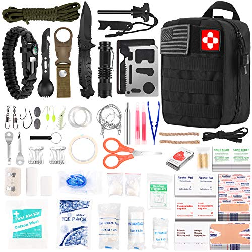 216 Pcs Survival First Aid kit Professional Survival Gear Equipment Tools First Aid Supplies for SOS Emergency Tactical Hiking Hunting Disaster Camping AdventuresBlack