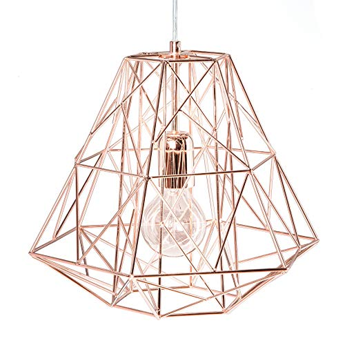 Filigrane Hängeleuchte CAGE S Rosegold Industrial Design Pendelleuchte Metall Käfig Vintage Deckenlampe E27 Hängelampe Industrielampe Metallleuchte