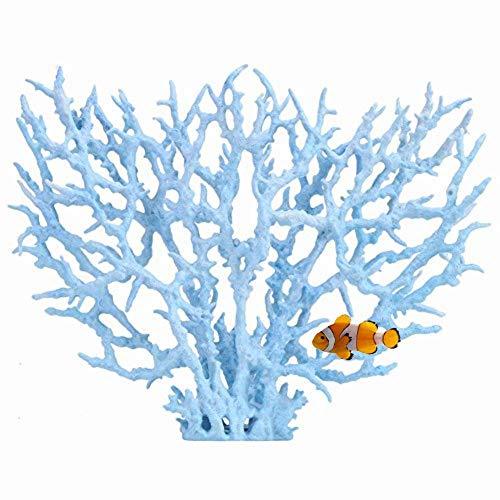 Künstliche Kunststoff Korallen Aquarienpflanzen Coral Fish Tank Dekorationen in verschiedenen Größen und Farben Korallendekor für Aquarien(L Blue)