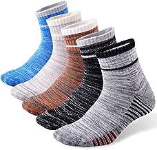 FEIDEER 5-Pack Men's Hiking Walking Athletic Socks Wicking Cushioned Quarter Sports Socks(18105-XL)