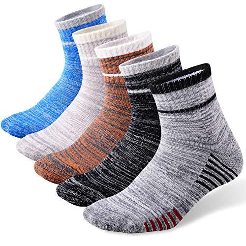 Men's Hiking Walking Socks, FEIDEER 5-Pack Wicking Cushioned Quarter Sports Socks